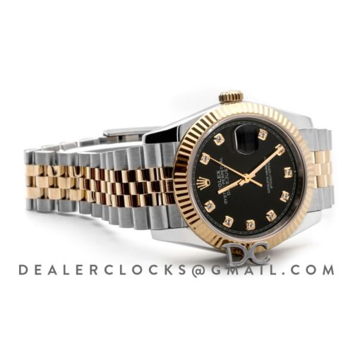 Datejust 36 126283RBR Black Dial in Yellow Gold and Steel with Diamond Markers