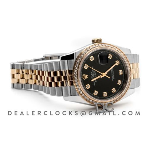 Datejust 36 126283RBR Black Dial in Yellow Gold and Steel with Diamond Set Bezel and Diamond Markers