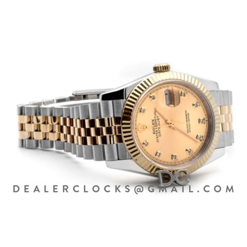 Datejust 36 126283RBR Champagne Dial in Yellow Gold and Steel with Diamond Markers