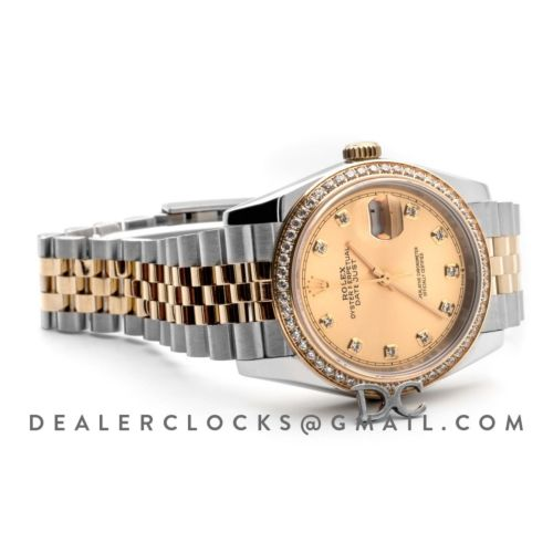 Datejust 36 126283RBR Champagne Dial in Yellow Gold and Steel with Diamond Set Bezel and Diamond Markers
