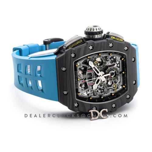 RM 011 Automatic Flyback Chronograph Carbon on Blue Rubber Strap