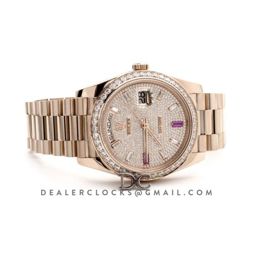 Day-Date 40 Everose Gold Diamond bezel and Paved Dial 228396