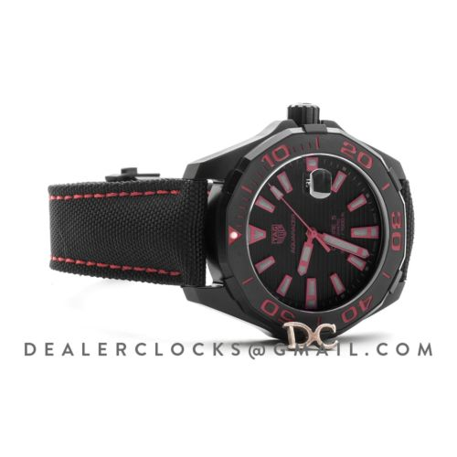 Aquaracer Calibre 5 Black Dial with Red Tachymeter