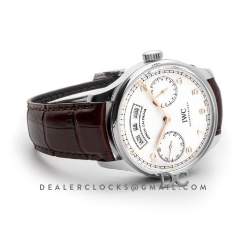 Portugieser Annual Calendar IW5035 White Dial in Steel