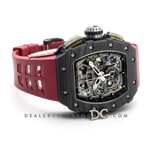 RM 011 Automatic Flyback Chronograph Carbon on Red Rubber Strap