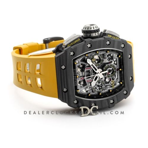 RM 011 Automatic Flyback Chronograph Carbon on Yellow Rubber Strap