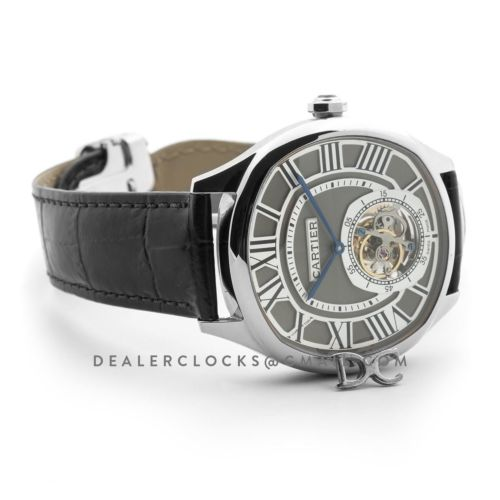 Drive de Cartier Tourbillon Grey Dial in White Gold on Black Leather Strap