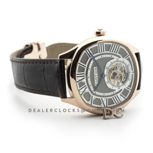 Drive de Cartier Tourbillon Grey Dial in Rose Gold on Black Leather Strap
