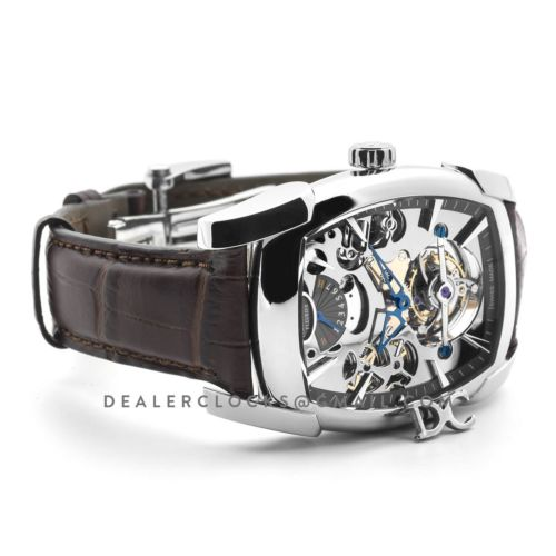 Kalpa Grande Tourbillon Silver Dial in Steel on Brown Leather Strap