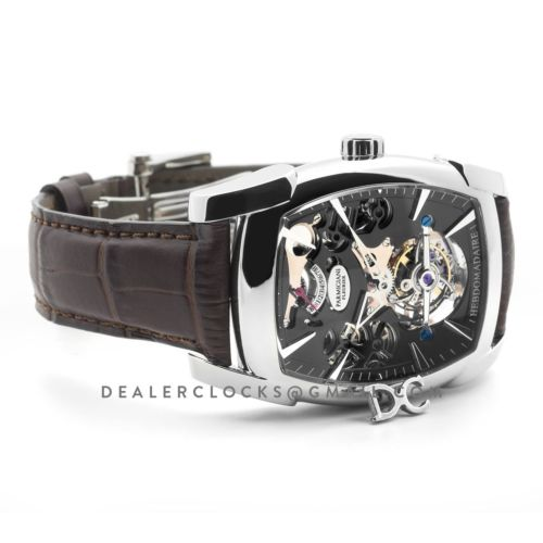 Kalpa Grande Tourbillon Black Dial in Steel on Brown Leather Strap
