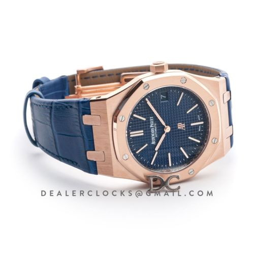 Royal Oak 15202 Rose Gold Blue Dial on Blue Leather Strap