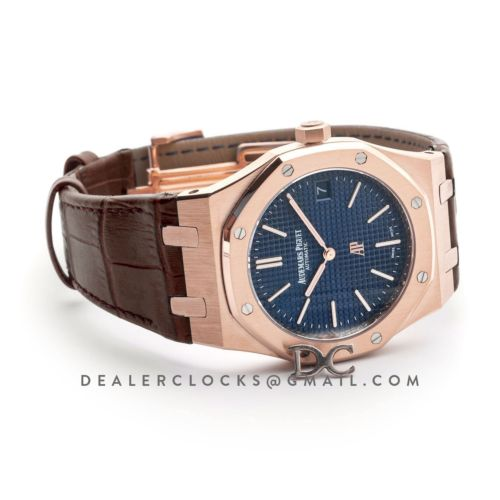 Royal Oak 15202 Rose Gold Blue Dial on Brown Leather Strap