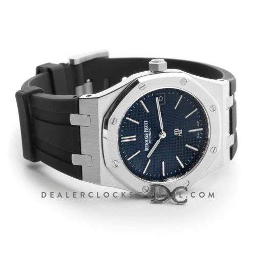 Royal Oak 15202 Stainless Steel Blue Dial on Black Rubber Strap