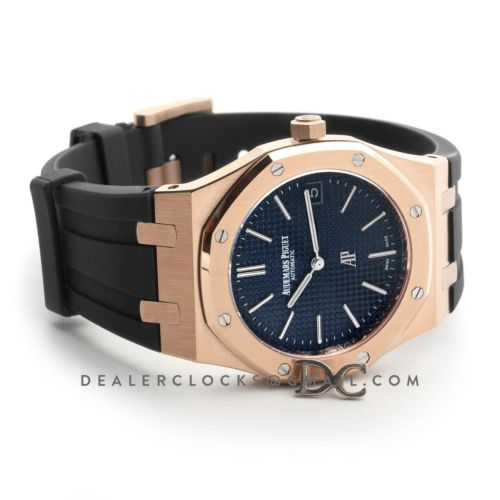 Royal Oak 15202 Rose Gold Blue Dial on Black Rubber Strap