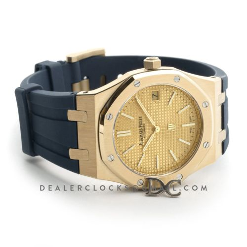 Royal Oak 15202 18K Yellow Gold Dial on Blue Rubber Strap