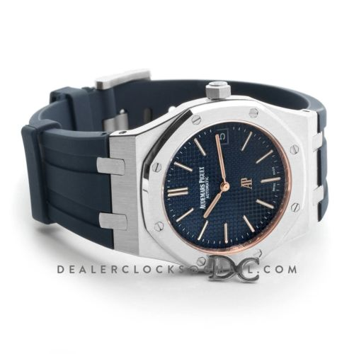 Royal Oak 15202 Steel Blue/Rose Gold Dial on Blue Rubber Strap