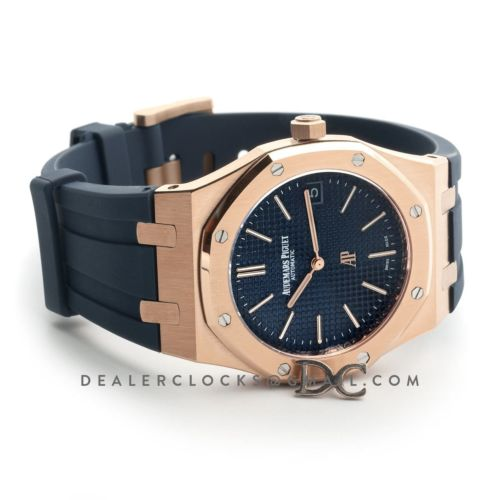 Royal Oak 15202 Rose Gold Blue Dial on Blue Rubber Strap