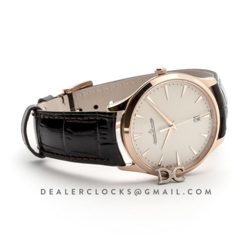Master Ultra Thin Date 128510 in Pink Gold on Brown Leather Strap