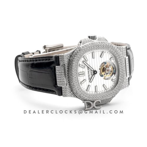 Nautilus Jumbo 5711 Tourbillon White Dial with Full Paved Diamond Bezel in White Gold on Black Leather Strap