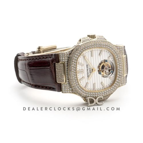 Nautilus Jumbo 5711 Tourbillon White Dial with Full Paved Diamond Bezel in Yellow Gold on Brown Leather Strap