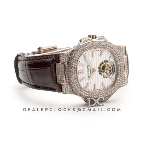 Nautilus Jumbo 5711 Tourbillon White Dial with Full Paved Diamond Bezel in Pink Gold on Brown Leather Strap