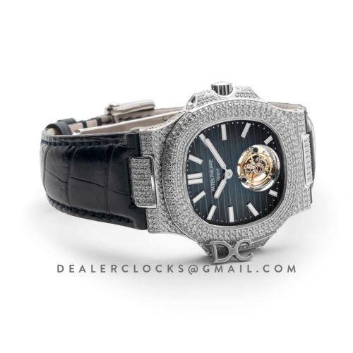 Nautilus Jumbo 5711 Tourbillon Blue Dial with Full Paved Diamond Bezel in White Gold on Blue Leather Strap