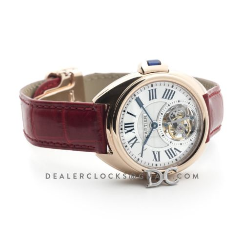 Cle de Cartier Tourbillon Rose Gold 35mm on Red Leather Strap