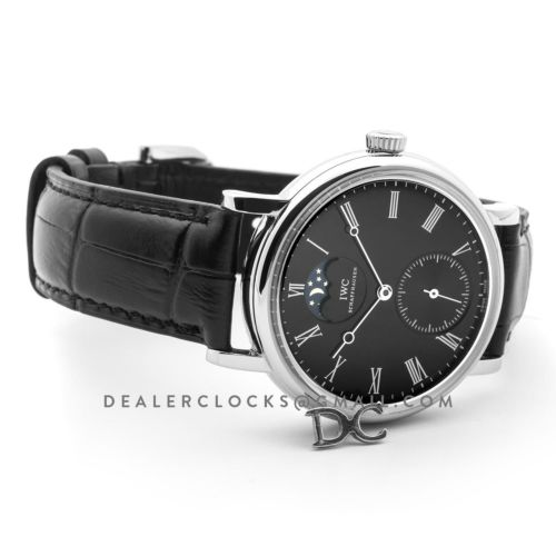 Vintage Portofino Hand Wound IW544801 Black Dial in Steel
