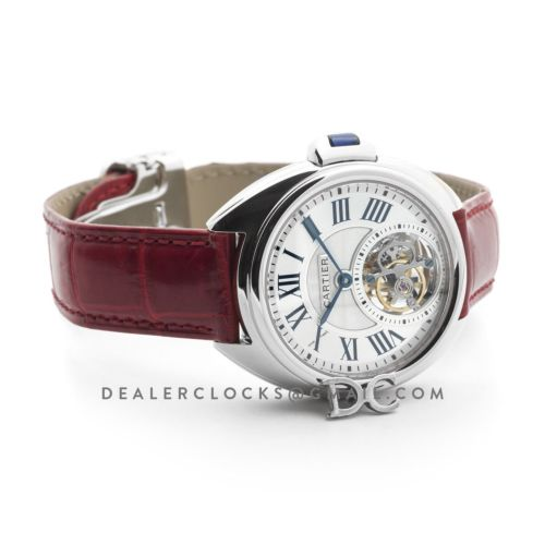 Cle de Cartier Tourbillon White Gold 35mm on Red Leather Strap