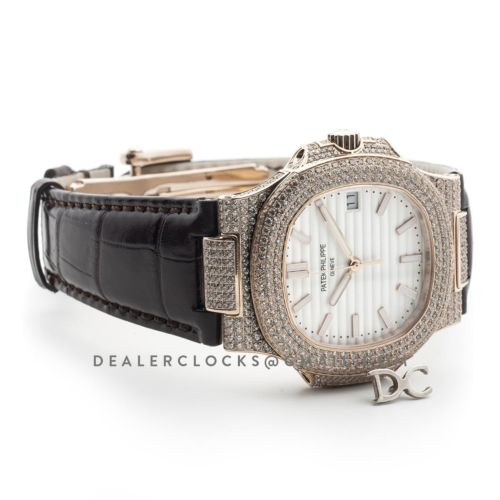 Nautilus Jumbo 5711 White Dial in Rose Gold with Paved Diamonds on Strap