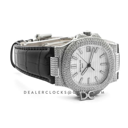 Nautilus Jumbo 5711 White/Black Dial in Steel with Paved Diamonds on Strap