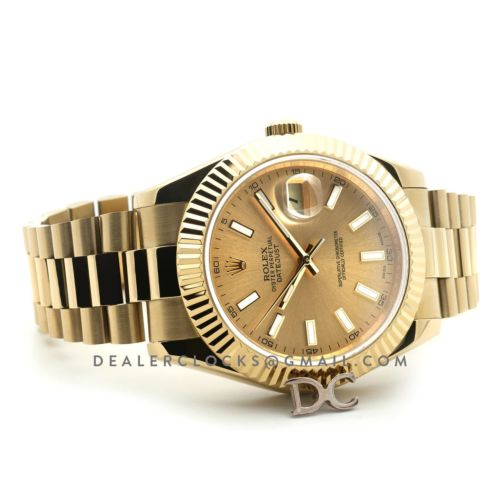 Datejust 41 126333 Champagne Dial Stick Markers