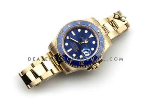 Submariner 116618LB Blue Ceramic in Gold