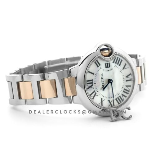 Ballon Bleu de Cartier 33mm Mother of Pearl Dial in Steel and Gold
