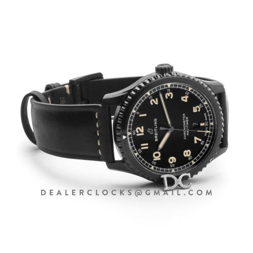 Navitimer 8 Automatic 41 Black Dial in PVD on Black Leather Strap