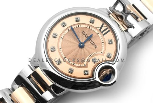 Ballon Bleu de Cartier 33mm Rose Gold Dial in Steel and Gold