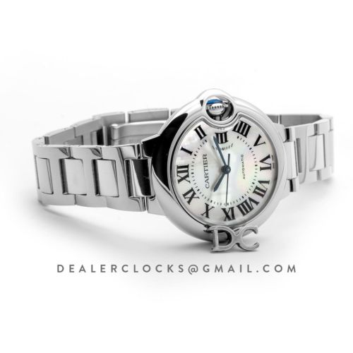 Ballon Bleu De Cartier 33mm White Mother Of Pearl Dial in Steel