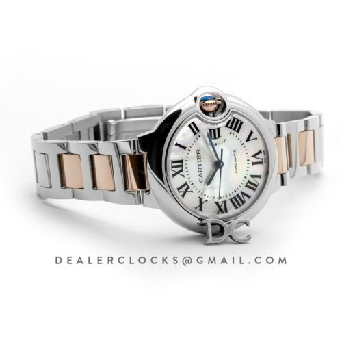 Ballon Bleu De Cartier 33mm White Mother Of Pearl Dial in Steel/ Pink Gold