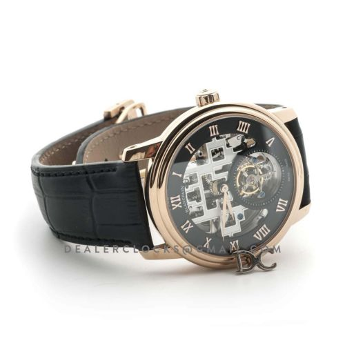 Fantasy Tourbillon Black Dial in Rose Gold on Black Leather Strap