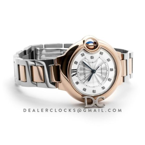 Ballon Bleu De Cartier 28mm White Dial in Pink Gold/Steel