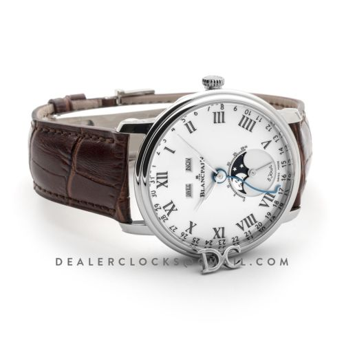 Villeret Quantieme Complet White Dial with Roman Numeral Markers in Steel
