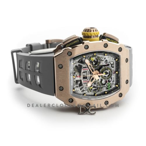 RM 011-03 Automatic Flyback Chronograph in Rose Gold on Grey Rubber