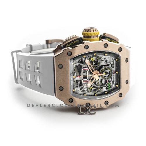 RM 011-03 Automatic Flyback Chronograph in Rose Gold on White Rubber