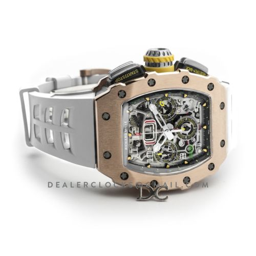 RM 011-03 Automatic Flyback Chronograph in Rose Gold / Titanium on White Rubber