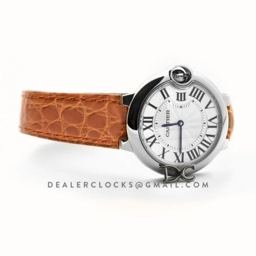 Ballon Bleu de Cartier 36mm White Dial in Steel on Orange Leather Strap