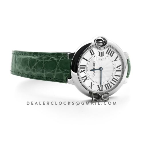 Ballon Bleu de Cartier 36mm White Dial in Steel on Green Leather Strap