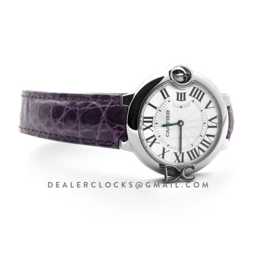 Ballon Bleu de Cartier 36mm White Dial in Steel on Purple Leather Strap