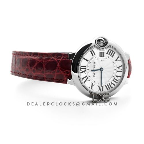 Ballon Bleu de Cartier 36mm White Dial in Steel on Red Leather Strap