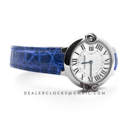 Ballon Bleu de Cartier 36mm White Dial in Steel on Blue Leather Strap