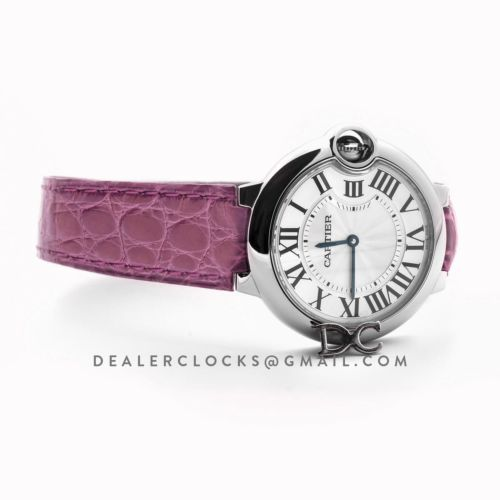 Ballon Bleu de Cartier 36mm White Dial in Steel on Dark Pink Leather Strap
